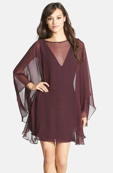 Halston Heritage Ponte Sheath Dress with Chiffon Cape #halston #fashion #dress #cape #sheath #dress #cocktail #dress #sale #marsala #burgundy #chiffon