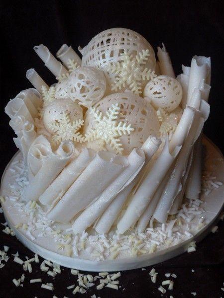 White Chocolate Snowballs and Flakes Christmas Cake