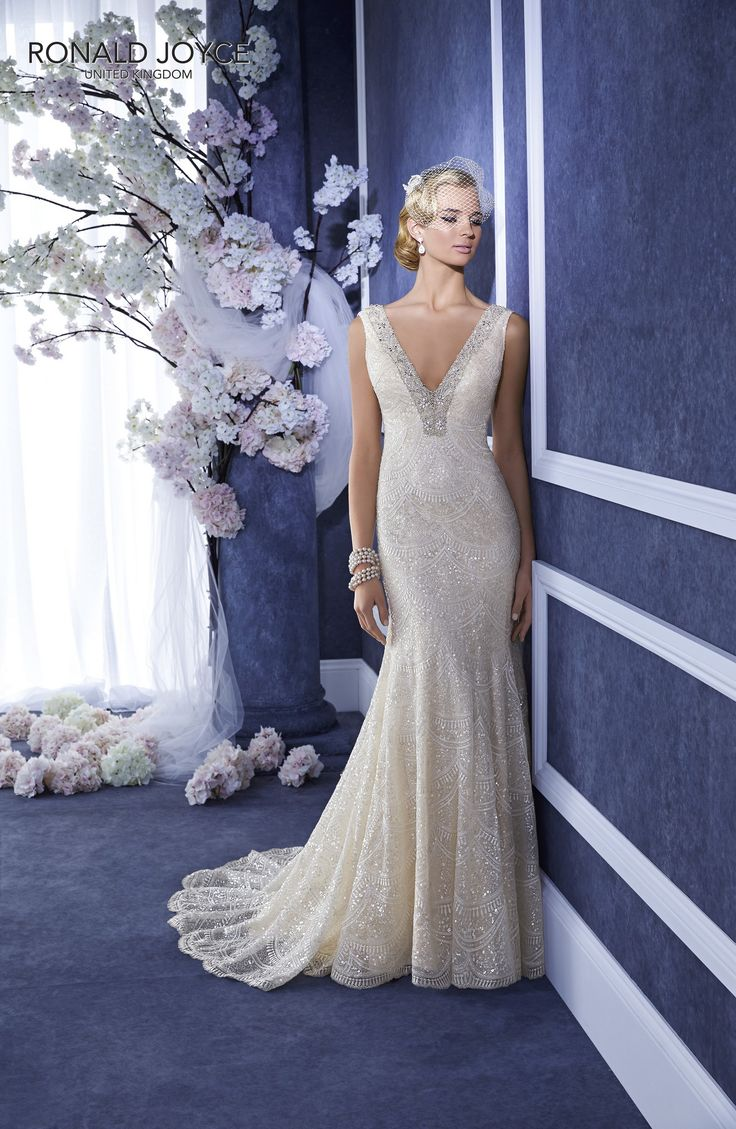 69052 'ELLIE' Ronald Joyce #weddingdress #lowback #beadedneckline #satin