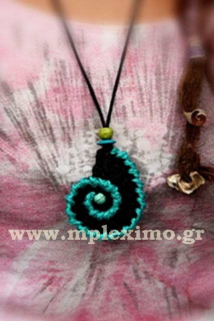 crochet spiral shell necklace, from mpleximo.gr