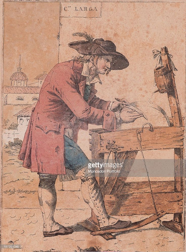 Italy, Lombardy, Milan, Civica Raccolta delle Stampe Achille Bertarelli, All, A knife grinder in via Larga in Milan sharpens knives and blades with a grinding wheel; he wears a beard and a hat; in the background the city; the dominant colours are red and blue,