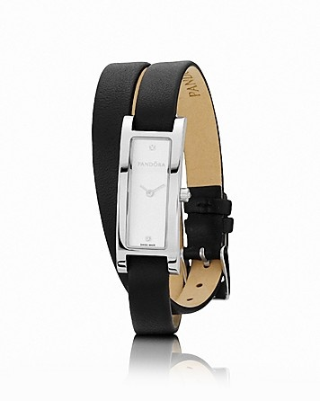 PANDORA Watch - Diamond, Stainless Steel & Black Leather Double Oblong, 15mm - Fine Watches - Shop by Style - Fine Jewelry - Bloomingdale's