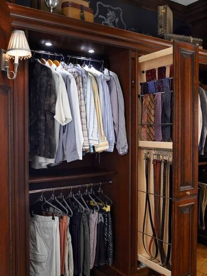 Handsome closet. Organize cumbersome ties, belts and other accessories into one spacious area. Having everything at your fingertips will make getting ready for the day easier as well as faster.