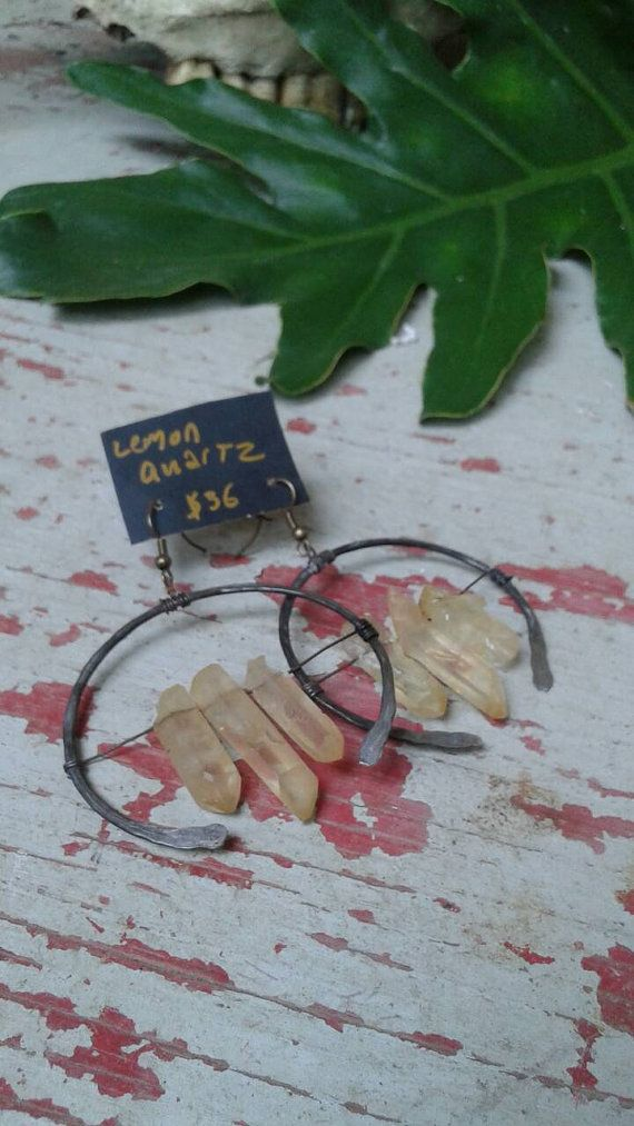 Check out this item in my Etsy shop https://www.etsy.com/listing/481490859/lemon-quartz-and-hamered-steel-earrings