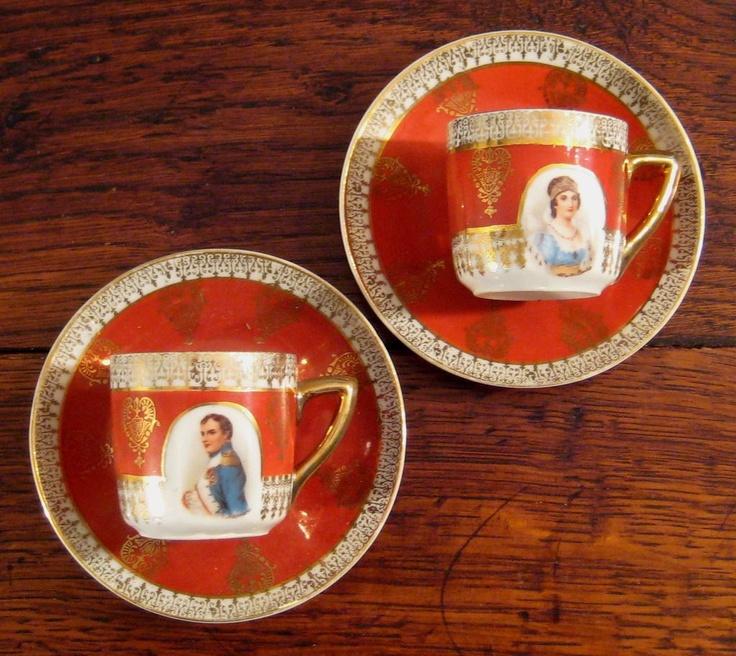 Vintage Pair Of Demitasse Cups & Saucers Of Napoleon & JosephineTeas Cups, Demitasse Cups, Vintage Pairings, Vintage Finding, Cups Saucer, Napoleon Josephine