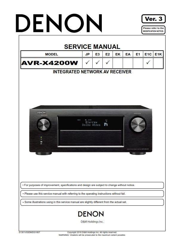 Denon AVR X4200W A/V Receiver Service Manual | Denon Audio