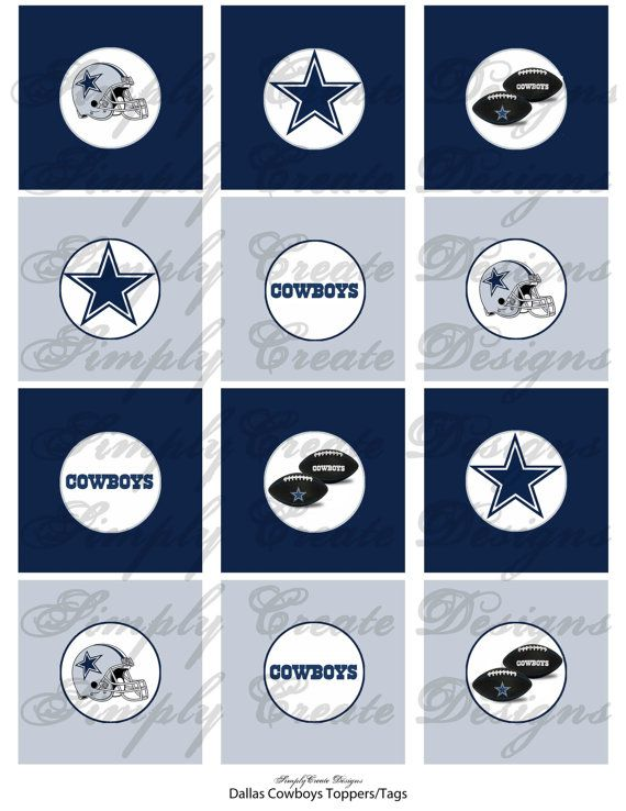 Dallas Cowboys Cupcake Toppers Diy Printable File Jpeg Or