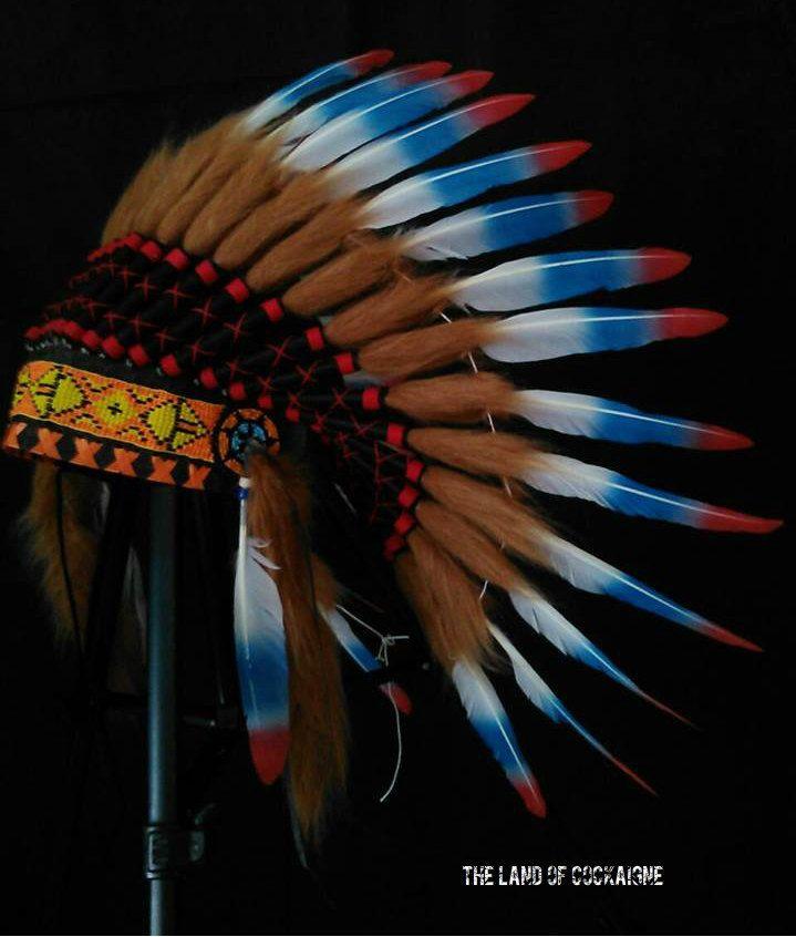 SALE! Native American inspired Headdress, Warbonnet, Indian style Headdress, Carnival clothing, Feather Headpiece, Rave, EDC, burning man by TheLandOfCockaigne on Etsy