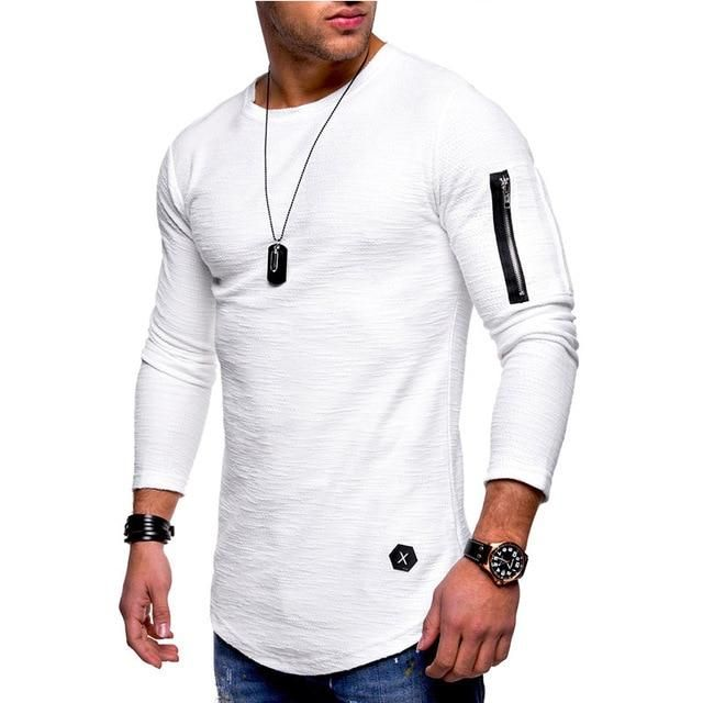 Muscle Men/'s Crew Neck Zipper Long Sleeve Casual Tops Shirts Slim Skinny T-shirt