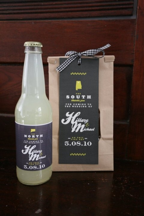 Our #DIY wedding favors- grits from Alabama, soda from Connecticut