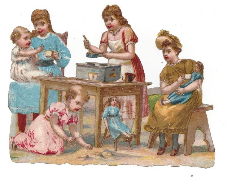 Victorian Die Cut Scraps Girls playing house with their dolls