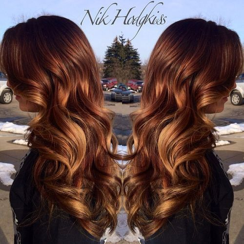 Brownish Red Hair with Blonde Highlights