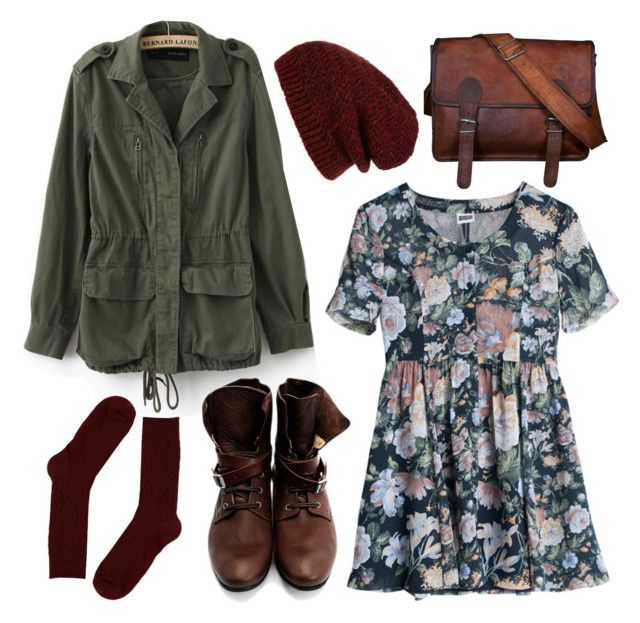 patterned dress, boots, socks, tights, green jacket, olive cargo coat, beanie
