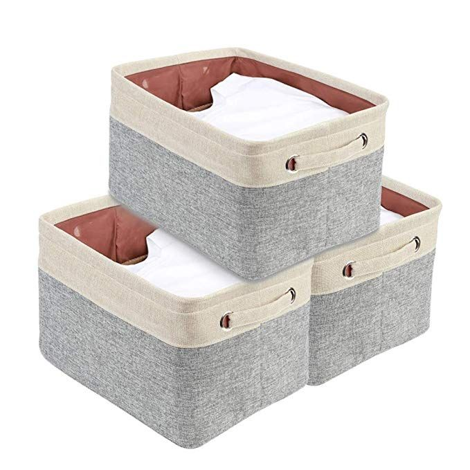Amazon Com Decomomo Foldable Storage Bin Set Of 3 Collapsible Linen Fabric Storage Basket Cube F Small Bedroom Storage Fabric Storage Baskets Fabric Baskets