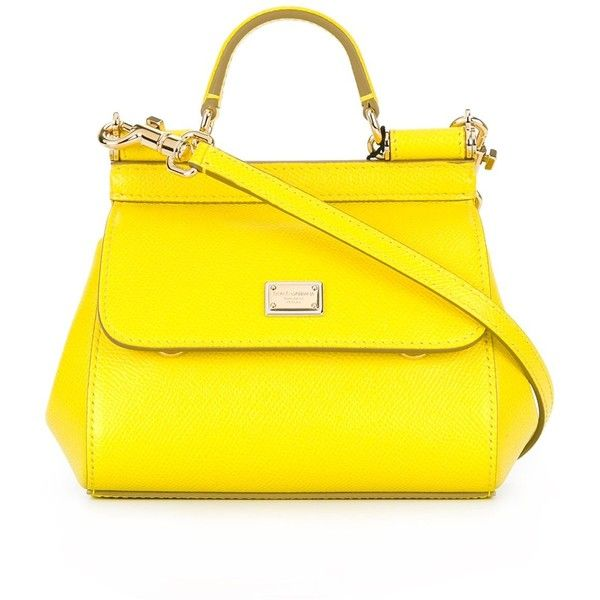 Dolce & Gabbana Miss Sicily Small Bag found on Polyvore featuring bags, handbags, yellow, tote purses, yellow tote, dolce gabbana bags, handbags totes and yellow purse