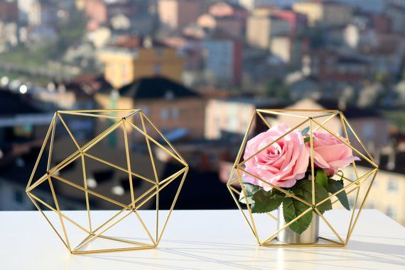 Gold Tone Decor, Coffee Table Decor,  Gold Tone Orb, Icosahedron Modern Minimalist Himmeli SPHERE ,