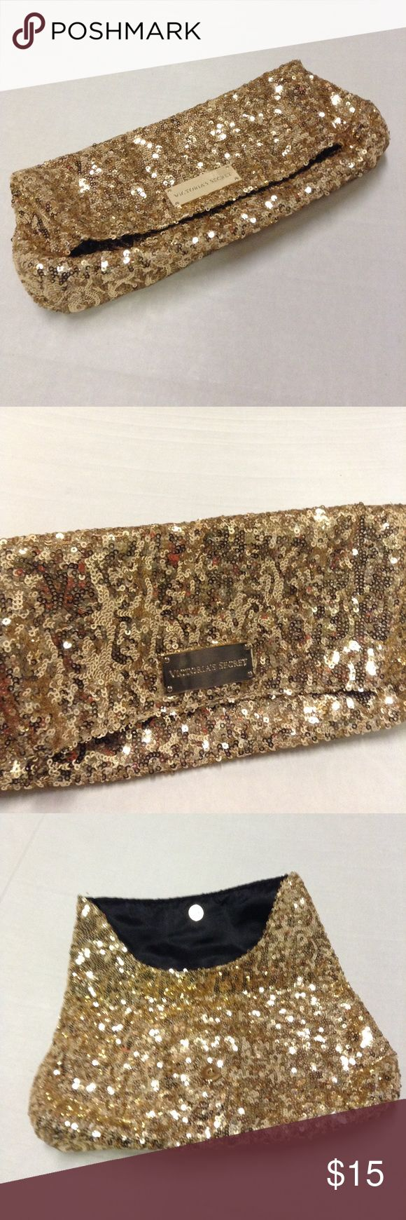 "Victoria Secret Gold Sequin Clutch Nice Victoria Secret Gold Sequin Clutch. In good condition. 11""W X 5.5""L closed. 9""L opened Victoria's Secret Bags Clutches & Wristlets"
