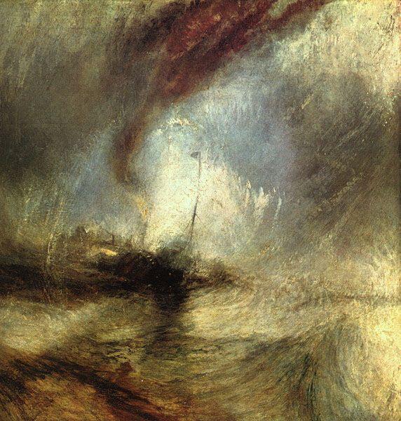 """""""Tormenta de nieve, un vapor a la entrada del puerto"""" (1842). WILLIAM TURNER (1775 - 1851). Artista ROMANTICO británico, maestro en transmitir la fuerza de la Naturaleza. Su aplicación de la luz y el color se intensificaron hasta llegar a estructuras impresionistas próximas a la abstracción."""