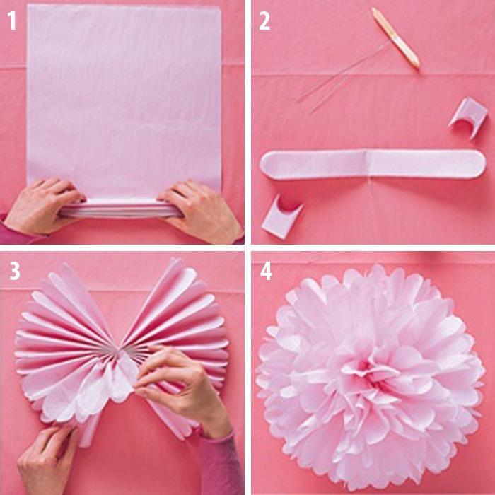 M s de 25 ideas incre bles sobre pompones de papel china - Como se hacen rosas de papel ...
