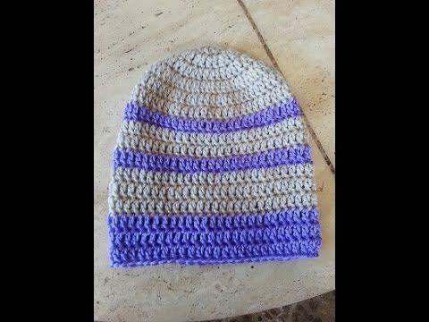 How To Crochet A Beanie Tutorial Beginner Friendly : Crochet super easy beginner adult beanie hat DIY tutorial ...
