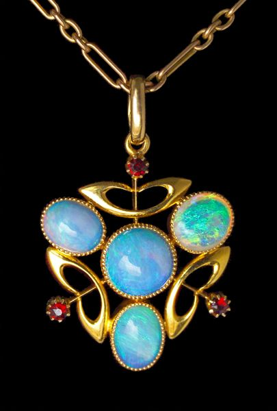 This is not contemporary - image from a gallery of vintage and/or antique objects. MURRLE BENNETT & Co 1896-1916 Attrib.  Art Nouveau Pendant  Gold Opal Garnet