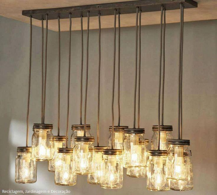 Luminária pendente, por reutilização de potinhos de vidro..