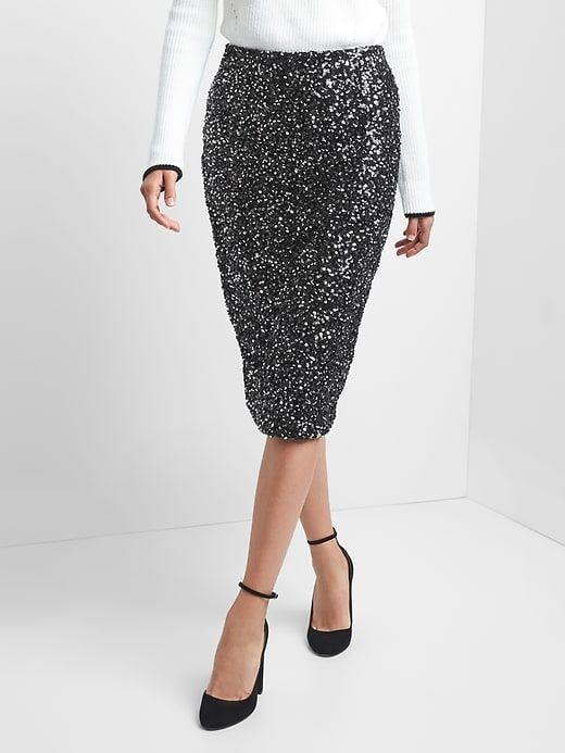 Gap Womens Sequin Pencil Skirt Black Sequin