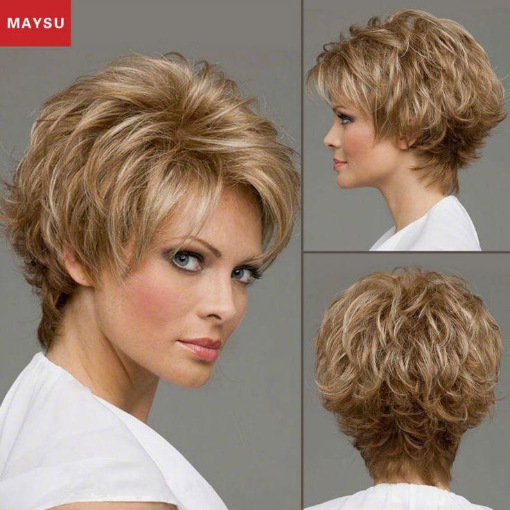 Maysu短いふわふわ人間の髪の毛のかつら白人女性多層カーリーかつらモノフィラメントトップブロンドかつら15色送料無料