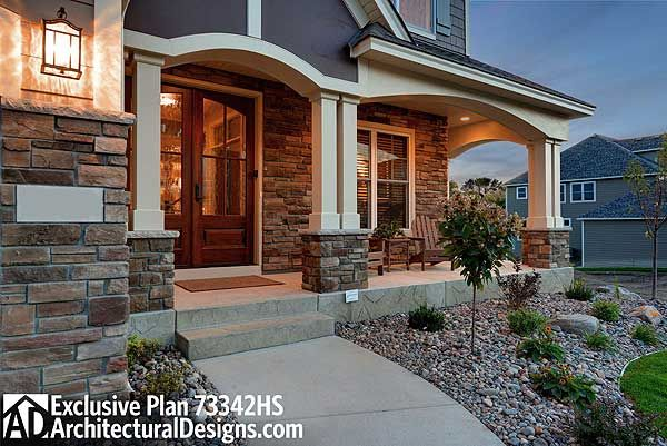 Front porch on Craftsman house plan 73342HS