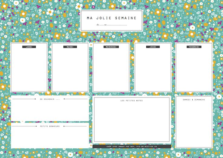 Imprimible menú semanal + lista de la compra (frances) // Free printable menu planner and shopping list (french) // semainier et menu de la semaine