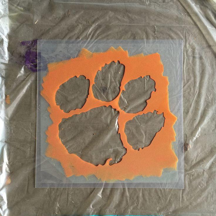 Clemson Tigers Paw Logo Stencil - Plastic