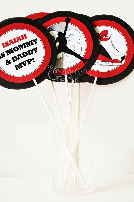 Air Jordan Party Centerpieces   You Print   Air Jordan Party | Jumpman  Party | Jumpman Baby Shower | Air Jordan Baby Shower | Party Supplies