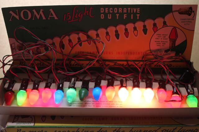 vintage NOMA Christmas lights in original boxes, a tree full of working lights!