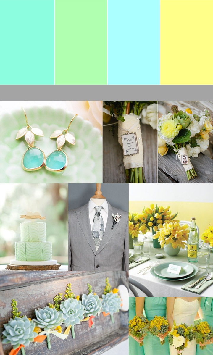 Color Story: Mint, Green, Yellow & Grey Wedding. Im pinning this for
