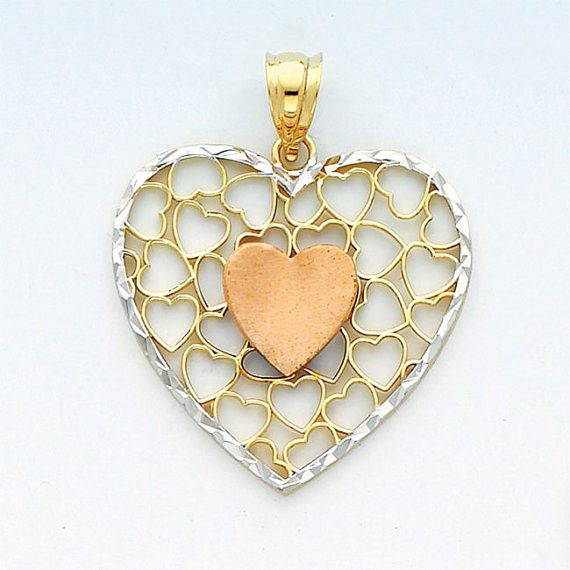 14K Heart, 14K Heart Pendant, Heart Pendant, Gold Heart, Gold Heart Pendant, Heart Necklace, Rose Gold Heart, Heart Jewelry