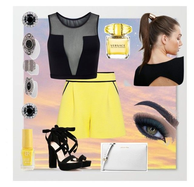 Yellow!!! Favorite color!!! 💛☀️ by joziee on Polyvore featuring polyvore fashion style Varley A.L.C. Nasty Gal Michael Kors Johnny Loves Rosie Too Faced Cosmetics Versace clothing