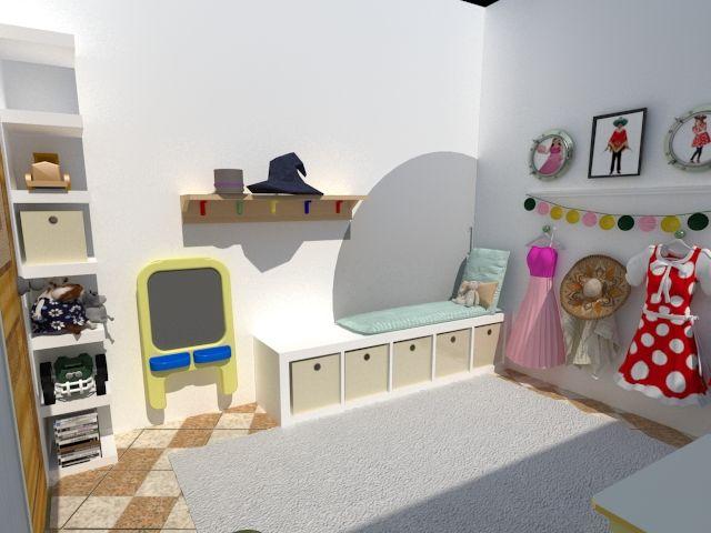 Proyecto para crear un playroom aprovechando todo lo que teníamos en el espacio, creando distintas zonas de juego. Vista desde la entrada.
