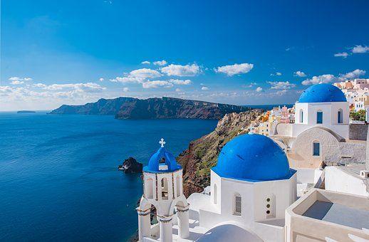 교회, 산토리니, D, 그리스, 섬, 그리스의, 건축물, 풍경