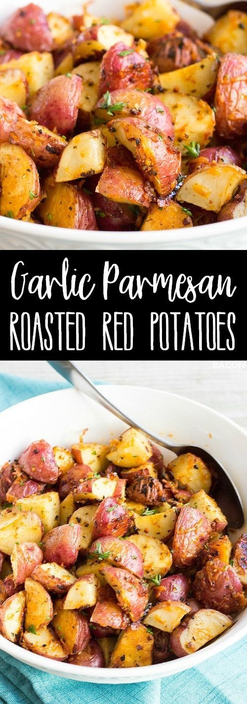 Garlic Parmesan Roasted Red Potatoes are an easy to make side dish that cook in the oven right alongside your favorite dinners! via @breadboozebacon