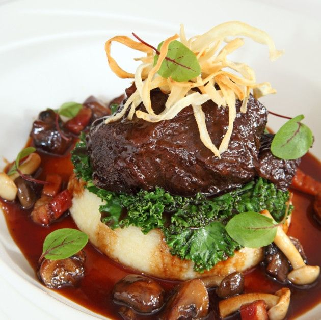 Slow braised ox cheek with smoked pancetta, mushrooms and baby onions