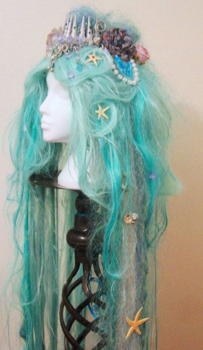 SALE Long Mermaid Wig Shell Crown in Green and White with