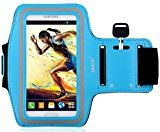 iXCC Racer Series Easy Fitting [Sport Gym Bike Jogging Running Walking] Armband with Dual Arm-Size Slots and Key Pocket for Samsung Galaxy S5 - Blue