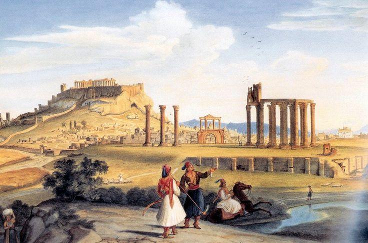 Johann Michael Wittmer (1802-1880)-Athens Temple of Zeus