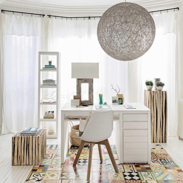 Scrivania bianca in massello di legno L 130 cm White | Maisons du Monde