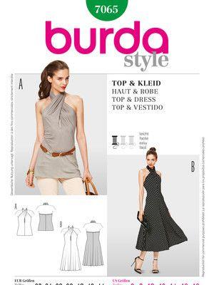 Schnittmuster: Kleid/ Top, schulterfrei mit Neckholder - Abendkleider - Kleider - Damen - burda style