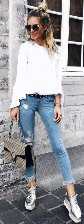 #summer #hot #outfits | White + Denim