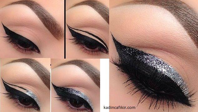 İki katlı mat ve simli eyeliner çekme yöntemi   Kadınca Fikir