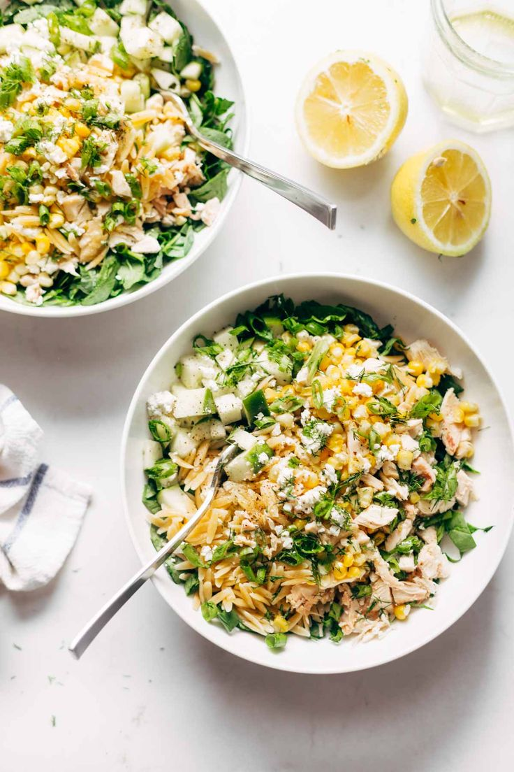 Orzo Summer Salad! With chicken and orzo, loaded with fresh veggies, and finished with a zippy lemon dressing and goat cheese.