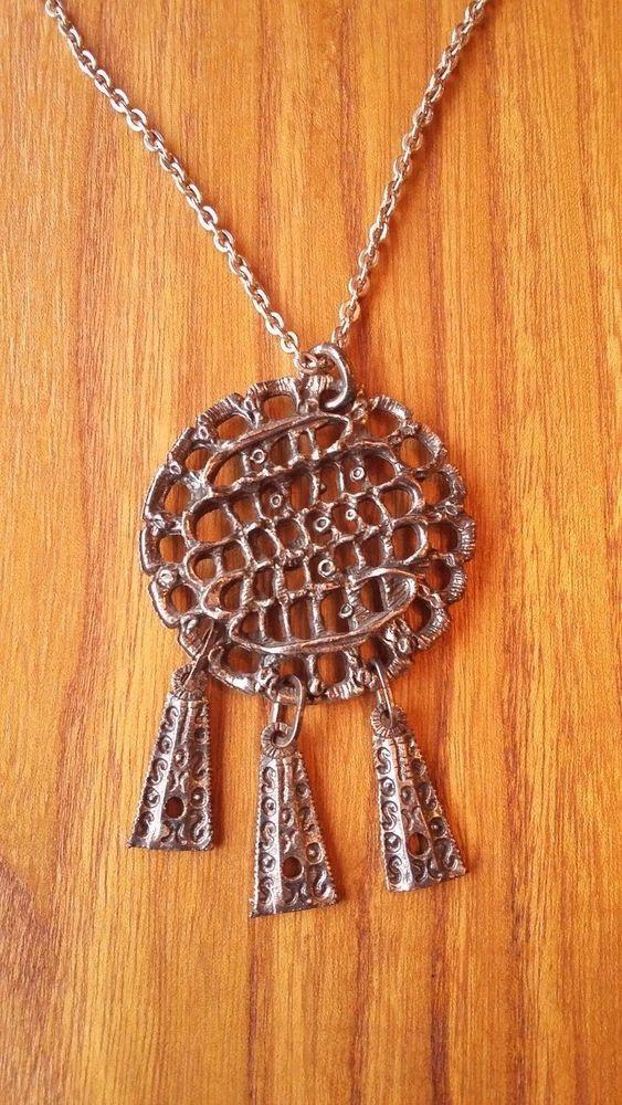 Vintage Scandinavian Finland Brutalist Metal Design Necklace Pendant