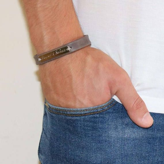 Men's Personalized Bracelet - Men's Engraved Bracelet - Customized Men Bracelet - Men's Initial Bracelet - Men's Coordinates Bracelet  The simple and beautiful bracelet combines gray leather strip and a sterling silver palette you can engrave on it names, dates, symbols ... (up to 2 words and a sign). $50.5